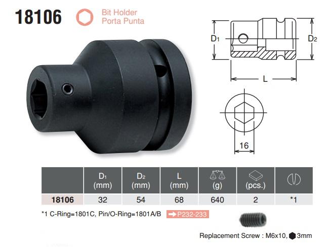 Đầu khẩu cắm bits 16mm, Koken 18106