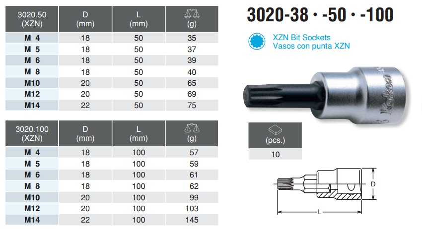 Đầu bits khẩu hoa thị 12 cạnh, Koken 3020.50-M16, Koken 3020.100-M12, Koken 3020.50-M14