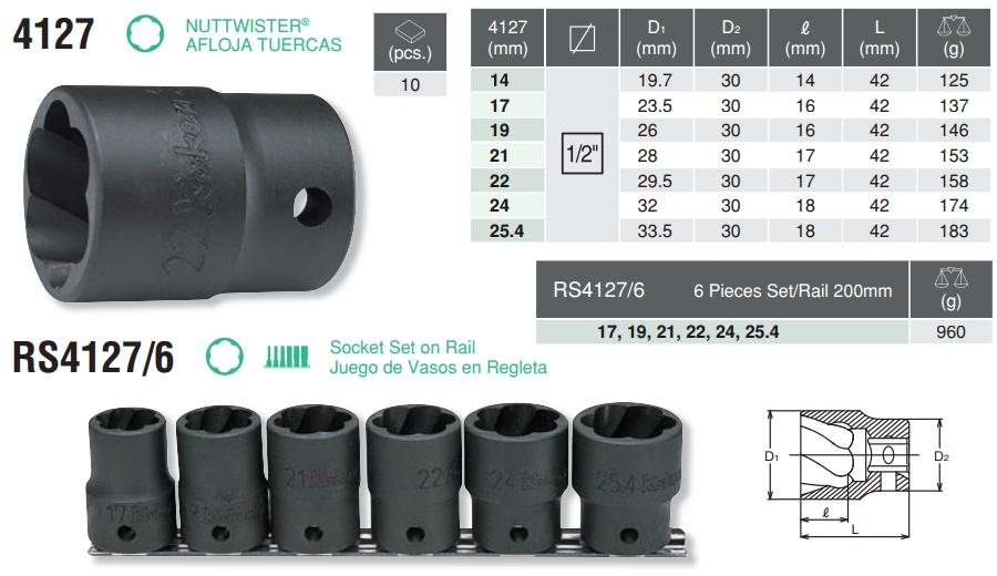 Tháo ốc mòn giác, Koken RS4127/6, Koken 4127, bộ tháo ốc mòn,