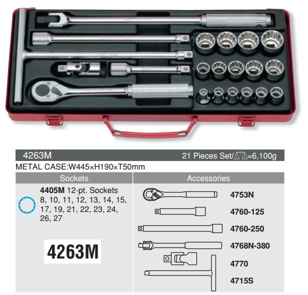 Bộ tuýp 12.7mm Koken, Koken 4263M, bộ tuýp 1/2 inch 21 chi tiết,