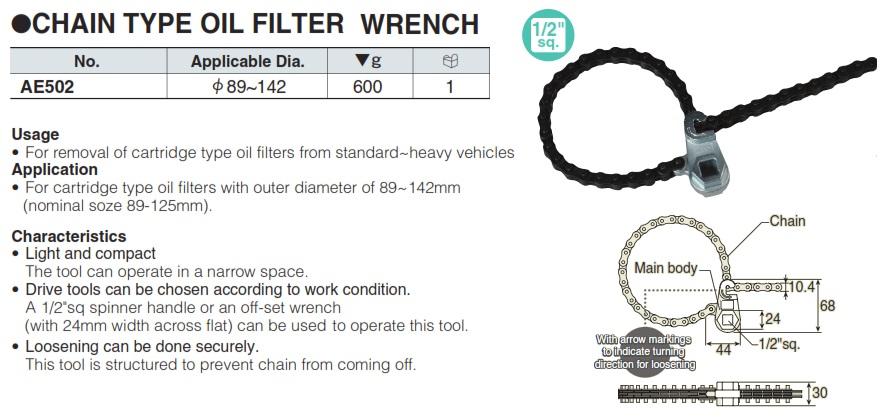 Vam xích tháo cốc lọc dầu AE502, KTC AE502, dùng cho đường kính 89-142mm