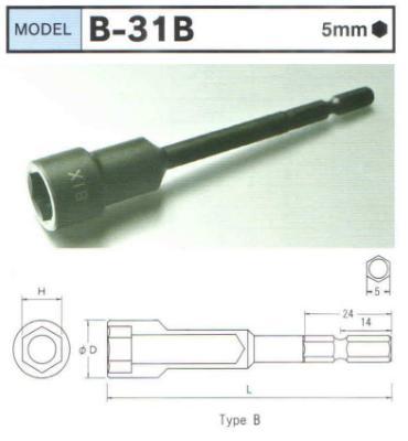 Đầu xiết ốc BiX Nhật, BiX thân 5mm dùng cho súng vặn vít, BiX -31B
