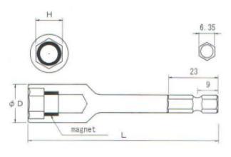 Đầu tuýp BiX, đầu bits BiX, B-35BRM, đầu bit xiết ốc, đầu tuýp vặn ốc