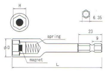 Đầu khẩu nam châm có lò xo, B-35BSM, đầu khẩu từ tính, đầu vặn ốc
