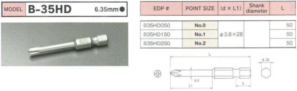 Đầu bits BiX B-35HD, đầu bits mũi tô vít 4 cạnh, B35HD050, B35HD150, B35HD250,
