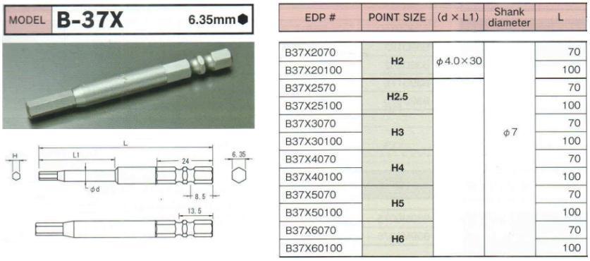 Đầu bits lục giác, Bix B-37X Nhật, đầu bit lục giác các cỡ từ 1.5 đến 6 dùng cho lắp ráp