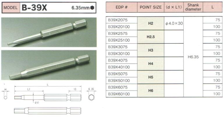 Bits mũi lục giác 6.35mm, đầu bits lục giác từ cỡ H2 đến H6, BiX B-39X, bits B-39X