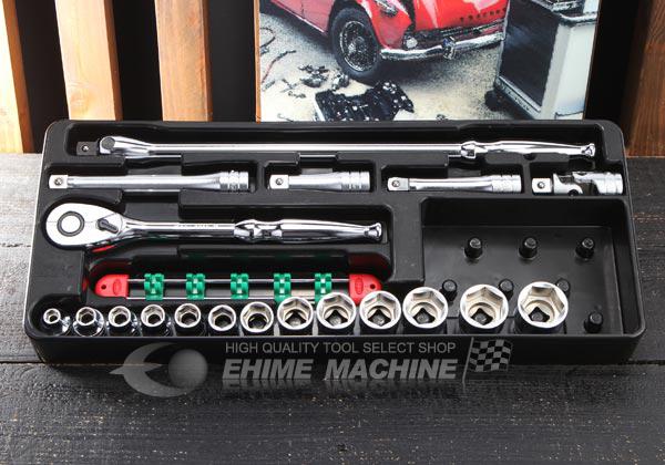 Bộ đầu khẩu 19 chi tiết với 13 đầu khẩu 6 cạnh, bộ khẩu 1/2 inch, TB413