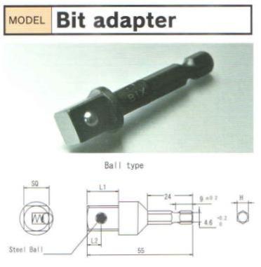 Đầu chuyển BiX, BiX BDA203B, đầu chuyển từ thân 6.35 sang đầu khẩu 3/8 inch