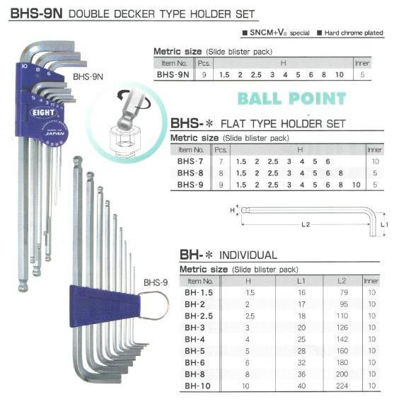 Bộ lục giác chìm BHS-9N, bộ lục giác EIGHT, lục giác chìm nhập khẩu, lục giác EIGHT Nhật