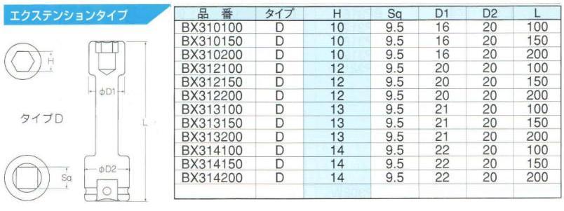 Đầu khẩu 3/8 inch, đầu tuýp 3/8 inch, đầu khẩu 3/8 inch dài 200mm, Bix BX312150