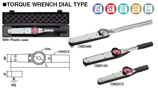 Cờ lê cân lực dạng đồng hồ kim chỉ CMD484, dải đo lực 100-480Nm