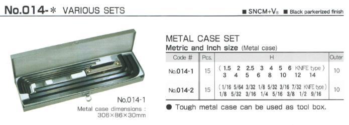 Bộ lục giác chìm 15 cỡ, Eight 014-1, bộ lục giác từ 1.5 đến 14mm