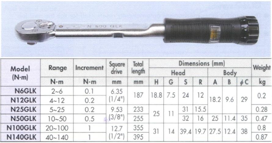 Cờ lê lực Kanon, Kanon N100GLK, N100GLK, dải đo 20-100Nm