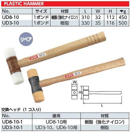 Búa nhựa 2 đầu, búa nhựa KTC Nhật, KTC UD8-10, búa nhựa thay đầu