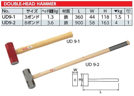 Búa sắt, búa tạ, KTC UD9-1, búa sắt 1.5kg, búa sắt nhập khẩu, búa cán gỗ