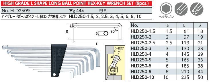 Bộ lục giác hệ mét, bộ lục giác chìm hệ mét, KTC HLD2509, bộ lục giác 9 cỡ,