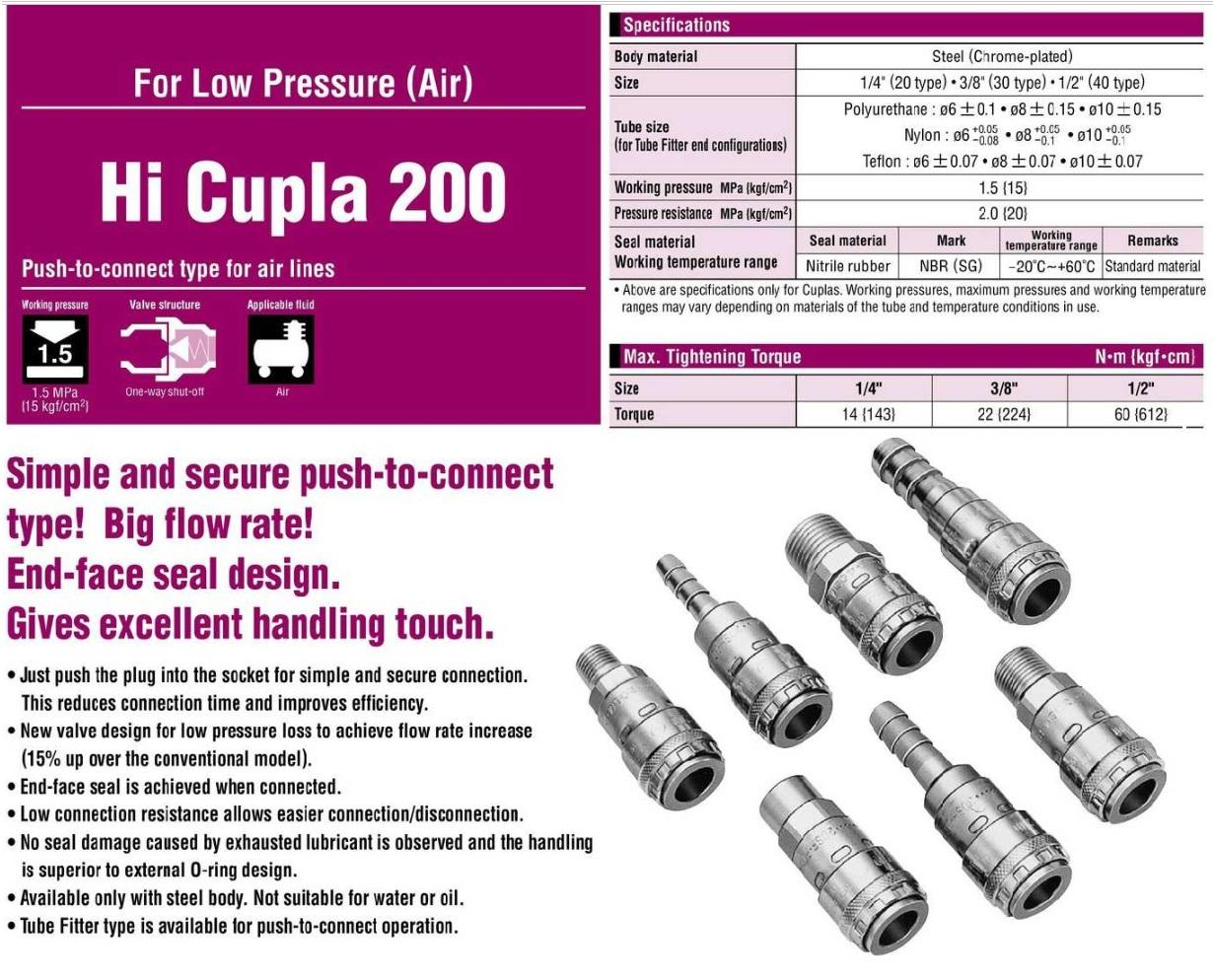 Khớp nối nhanh Nitto 200-20SF, 200-30SF, nối nhanh bằng 1 tay