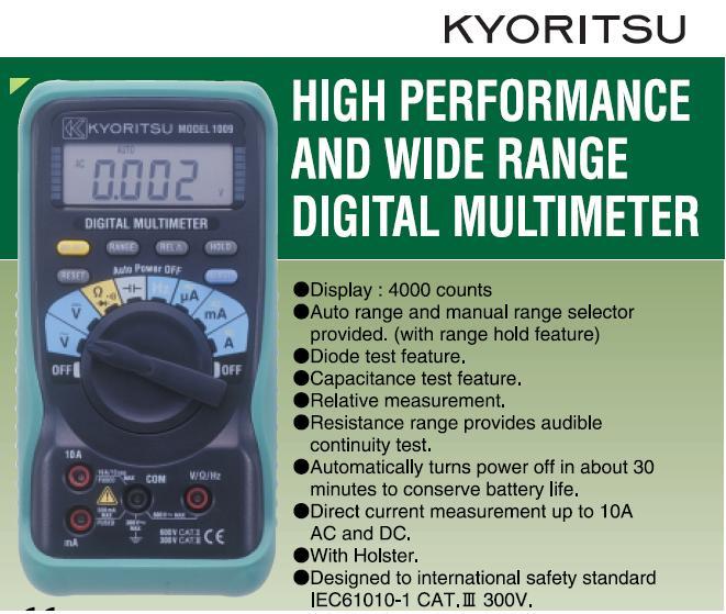 Đồng hồ đo điện đa năng, Kyoritsu K1009, đo điện đa năng, K1009