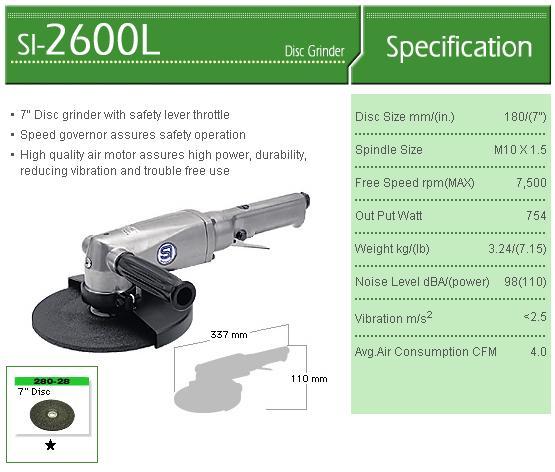 Máy mài góc, máy mài Shinano SI-2600L, máy mài đĩa 180mm