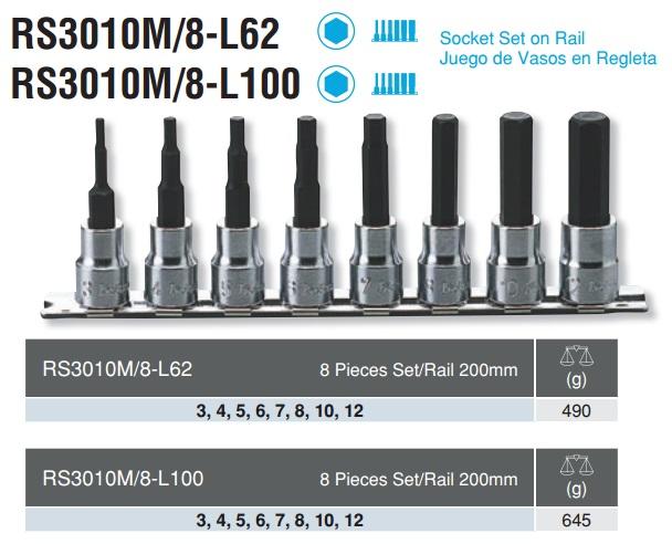 Bộ lục giác chìm dạng khẩu, Koken RS3010M/8-L62, Koken RS3010M/8-L100