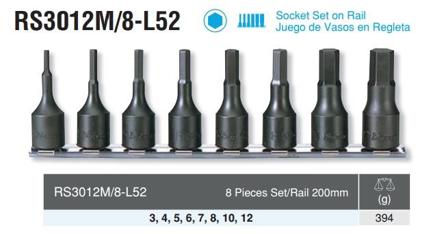 Bộ đầu chìm 3/8 inch, RS3012M/8-L52, bộ chìm 8 cỡ, Koken RS3012M/8-L52, bộ lục giác chìm