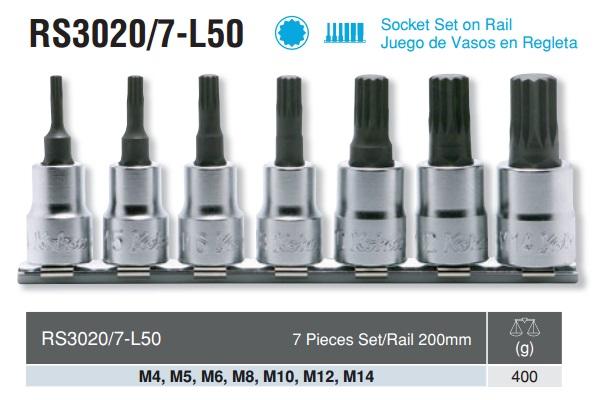 Bộ đầu bits sao 12 cạnh Koken, Koken RS3020/7-L50, đầu bits sao 12 cạnh.