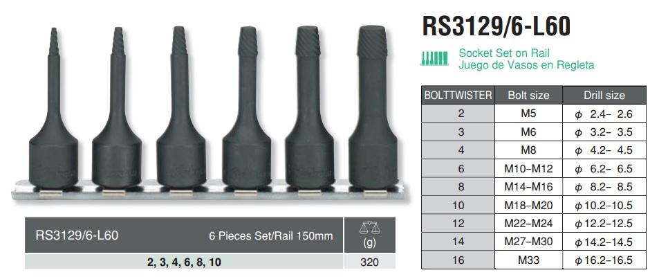 Bộ tháo bu lông gãy, Koken RS3129/6-L60, Koken 3129-L60, tháo bu lông gãy