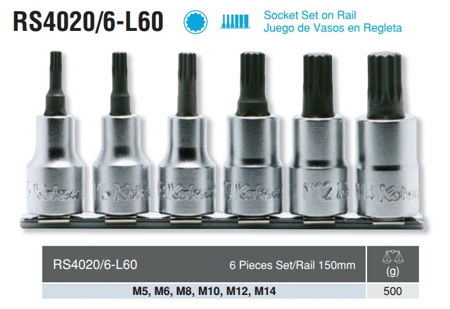 Bộ sao 12 cạnh dạng khẩu, koken RS4020/6-L60,