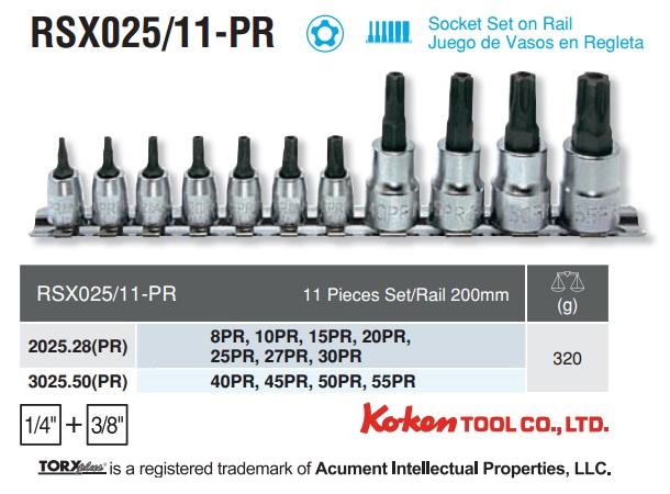 Bộ sao 5 cạnh, Koken RSX025/11-PR, bộ đầu sao 5 cạnh cỡ 8PR đến 55PR