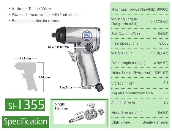 Súng vặn bu lông, súng vặn ốc 3/8 inch, súng vặn ốc dùng cho xưởng dịch vụ Honda, Yamaha, SI-1355