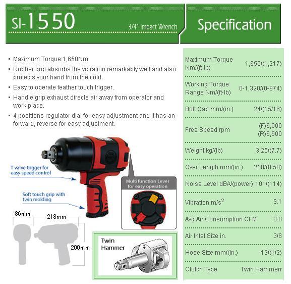 Súng vặn ốc 3/4 inch, súng vặn bu lông Shinano 3/4 inch, Shinano SI-1550SR