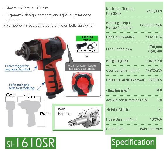 Súng vặn ốc SI-1610SR, súng vặn ốc 1/2 inch, súng vặn bu lông Shinano, súng vặn bu lông dùng khí nén