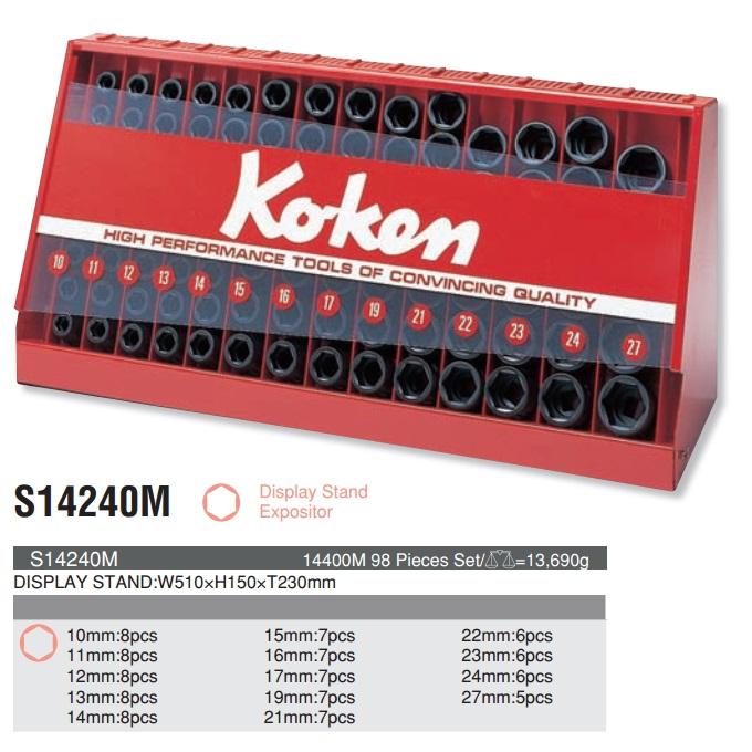 Bộ hộp trưng bày, Koken S14240M, bộ hộp đựng khẩu, hộp đựng khẩu Koken 1/2 inch