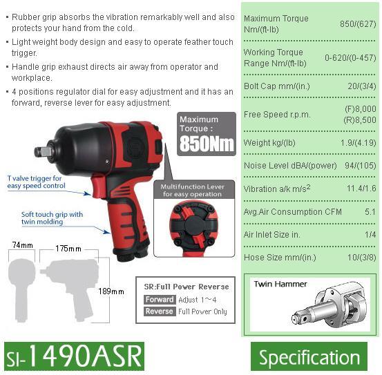 Súng vặn ốc 1/2 inch, súng vặn ốc Shinano, Shinano SI-1490ASR, SI-1490, súng vặn bu lông momen 850Nm