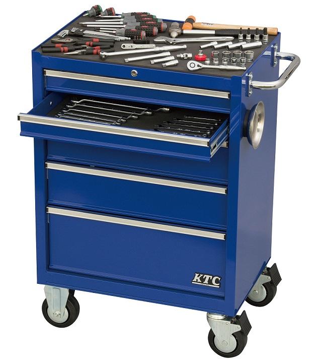 Bộ dụng cụ với xe SKX3805, xe dụng cụ màu xanh, xe dụng cụ 5 ngăn kéo