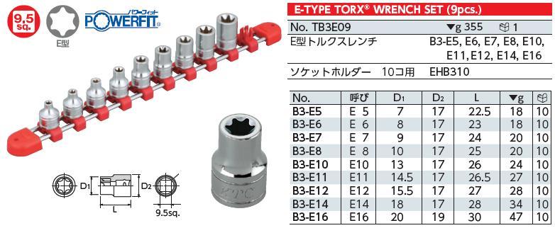 Bộ hoa thị khẩu E, bộ đầu E, KTC TB3E09, bộ khẩu hoa thị, khẩu E, khẩu E5 đến E16