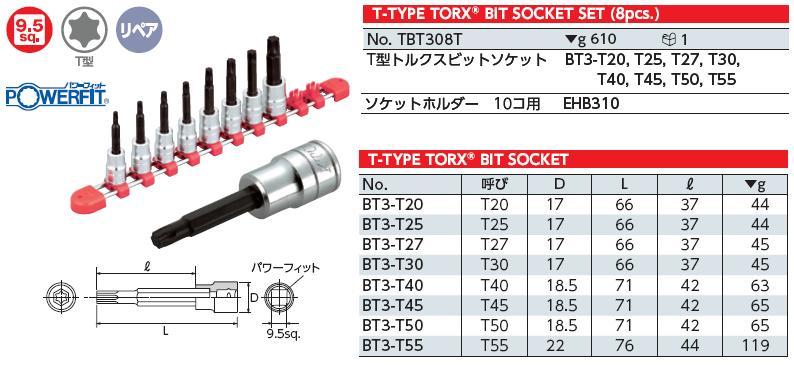Bộ hoa thị dạng khẩu 3/8 inch, bộ lục giác đầu khẩu 3/8, KTC TBT308T