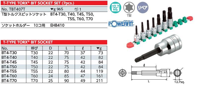 Bộ hoa thị dạng khẩu 1/2 inch, lục giác hình sao, KTC TBT407T, bộ hình sao với chân khẩu 1/2 inch,