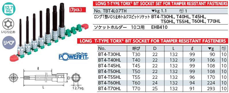Bộ đầu lục giác sao có lỗ gồm 7 cỡ từ T30H đến T70H, KTC TBT4L07TH, bộ hình sao từ T30H đến T70H, bộ lục giác sao 6 cạnh cong, vộ sao nhập khẩu từ KTC Nhật,