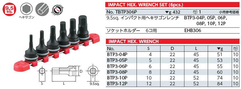 Bộ lục giác khẩu loại 3/8 inch, bộ lục giác với tuýp nối 3/8 inch, KTC TBTP306P,