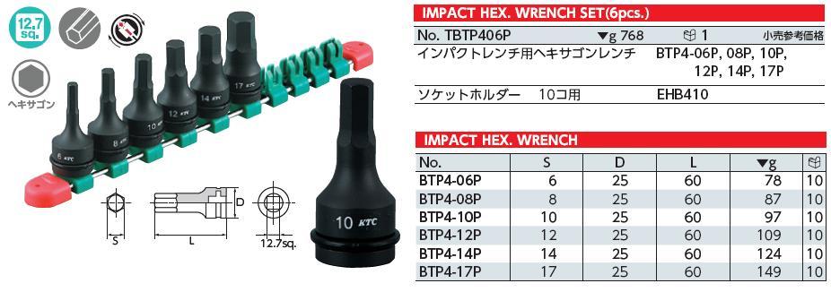Bộ lục giác chìm dạng đầu khẩu 1/2 inch, bộ tuýp 1/2 inch đầu lục giác chìm, KTC TBTP406P,