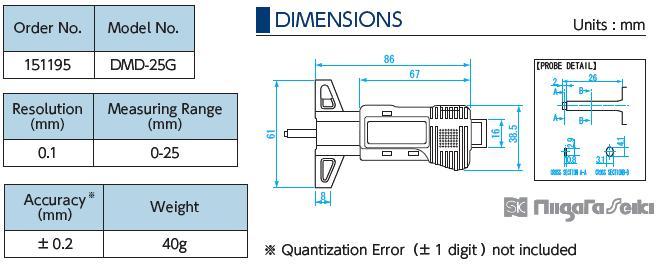 Thước kiểm tra gai lốp DMD-25G, thước đo độ sâu gai lốp, EA725F-70