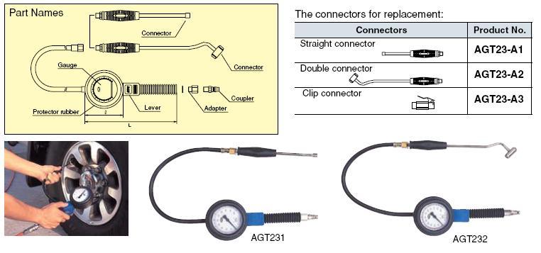 Đồng hồ bơm lốp KTC, KTC AGT231, đồng hồ bơm và đo áp suất lốp,
