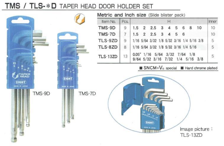 Bộ lục giác hệ inch, EIGHT TLS-13ZD, bộ lục giác chữ L hệ inch gồm 13 cỡ