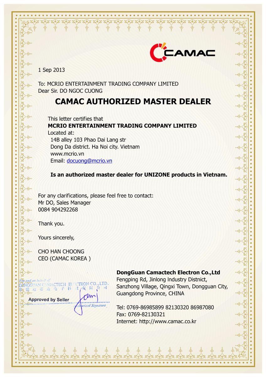 Giấy chứng nhận MCRIO là Tổng đại lý của Camac (Unizone) tại khu vực Việt Nam