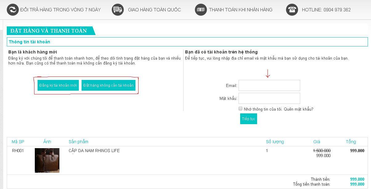 Điền thông tin để đặt hàng và thanh toán