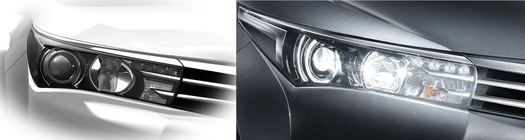 Cụm đèn pha xe Toyota Altis 2017 góc cạnh và cá tính.