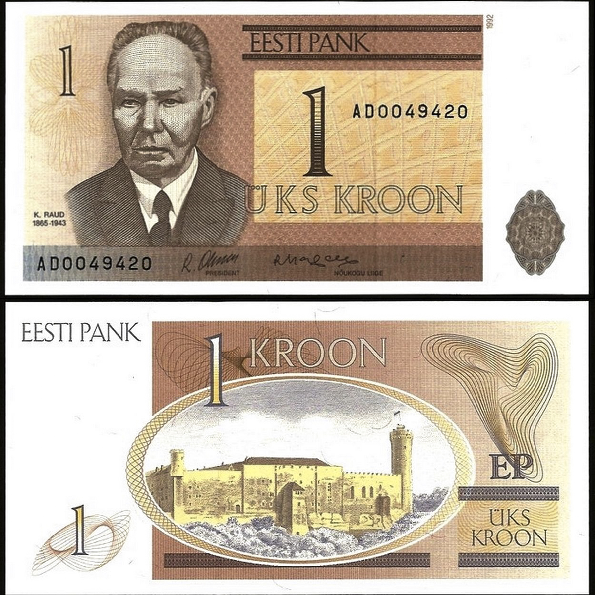 Estonia 1 kroon 1992