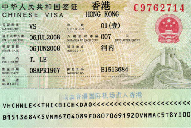 làm visa đi Hongkong 2019